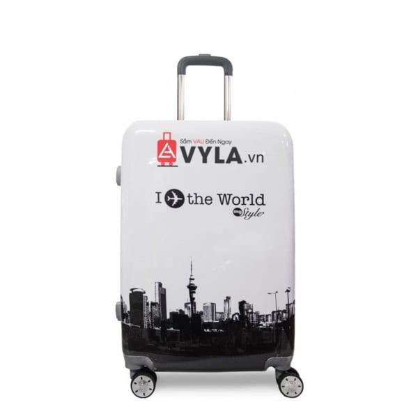 Vali kéo nhựa họa tiết màu trắng size 20 mẫu 1