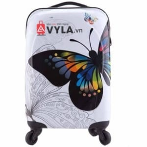 Vali kéo nhựa họa tiết bướm trắng size 20 mẫu 7