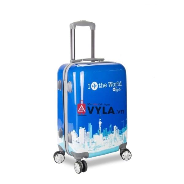 Vali kéo nhựa họa tiết màu xanh size 20 mẫu 1 giá rẻ