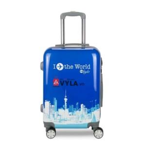 Vali kéo nhựa họa tiết màu xanh size 20 mẫu 1