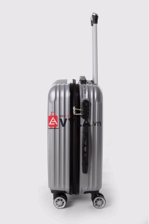 Vali kéo nhựa trơn màu xám size 20 mẫu 7 giá rẻ