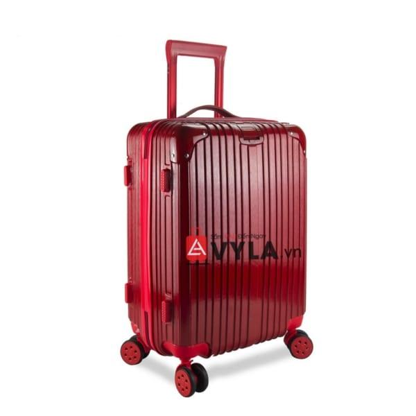 vali kéo nhựa trơn màu đỏ size 20 mẫu 1