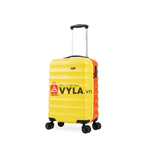 Vali kéo nhựa trơn màu vàng cam size 20 mẫu 1 đẹp