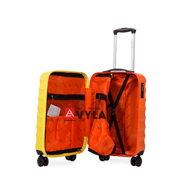 Vali kéo nhựa trơn màu vàng cam size 20 mẫu 1