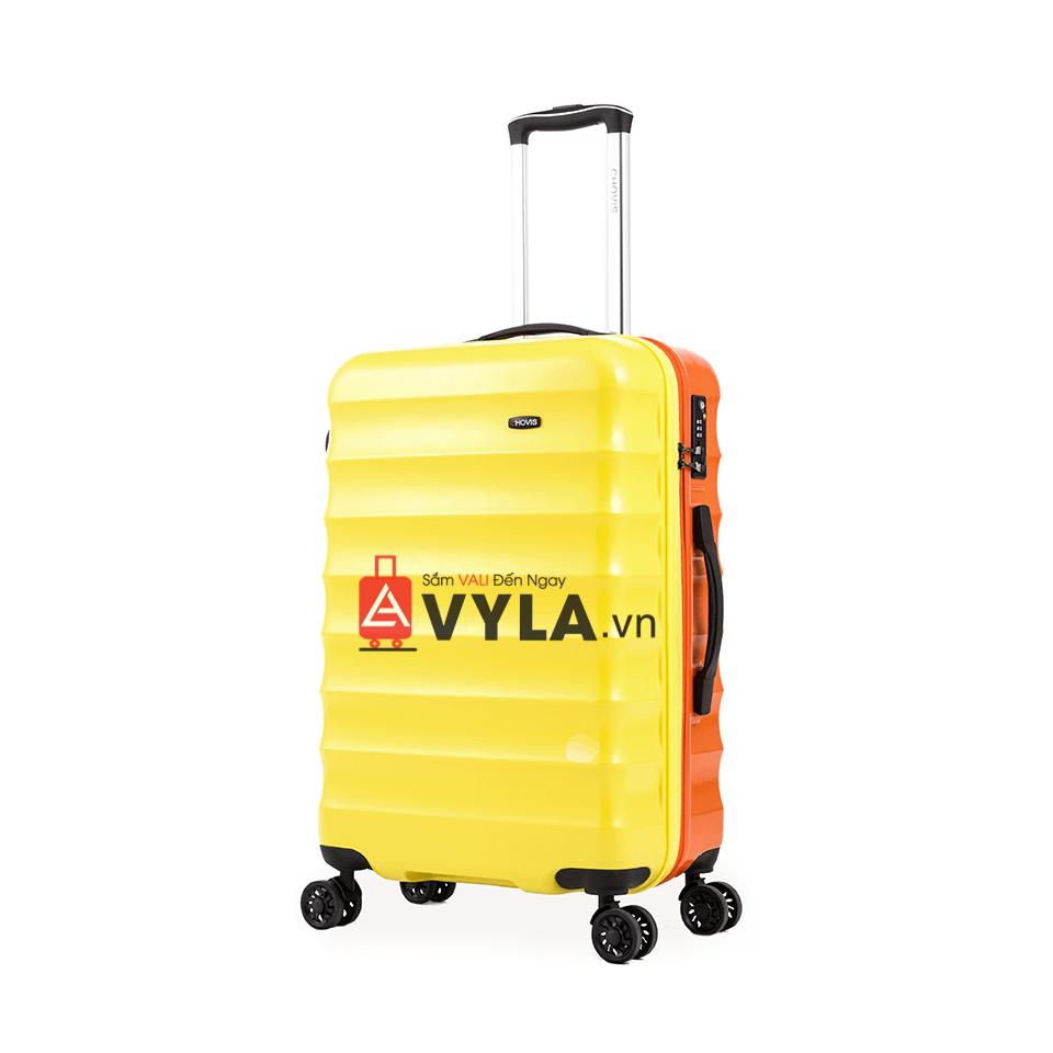 Vali kéo nhựa trơn màu vàng cam size 24 mẫu 1 đẹp