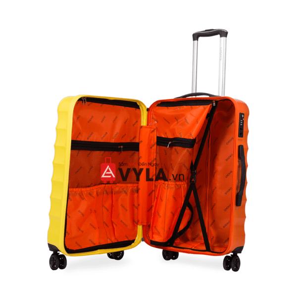 Vali kéo nhựa trơn màu vàng cam size 24 mẫu 1 đẹp hcm