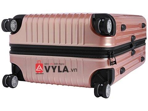 Vali kéo nhựa trơn rimowa màu hồng size 20