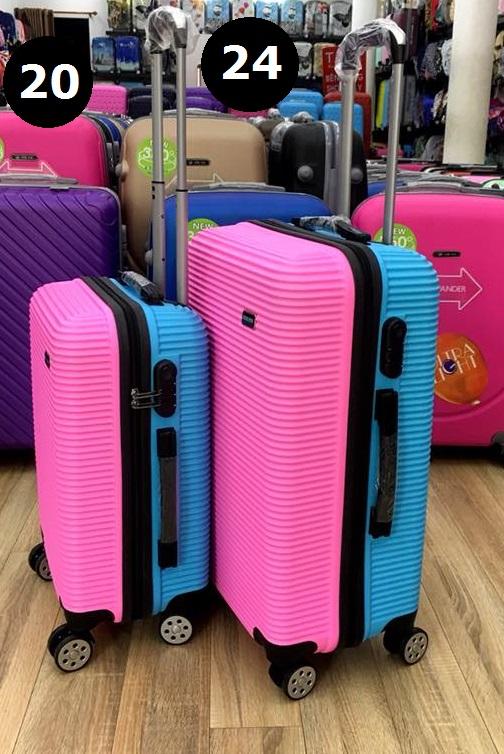 Bán vali nhựa trơn 2 màu hồng xanh