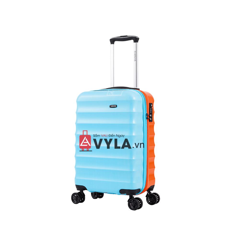 Vali kéo nhựa trơn xanh cam đẹp