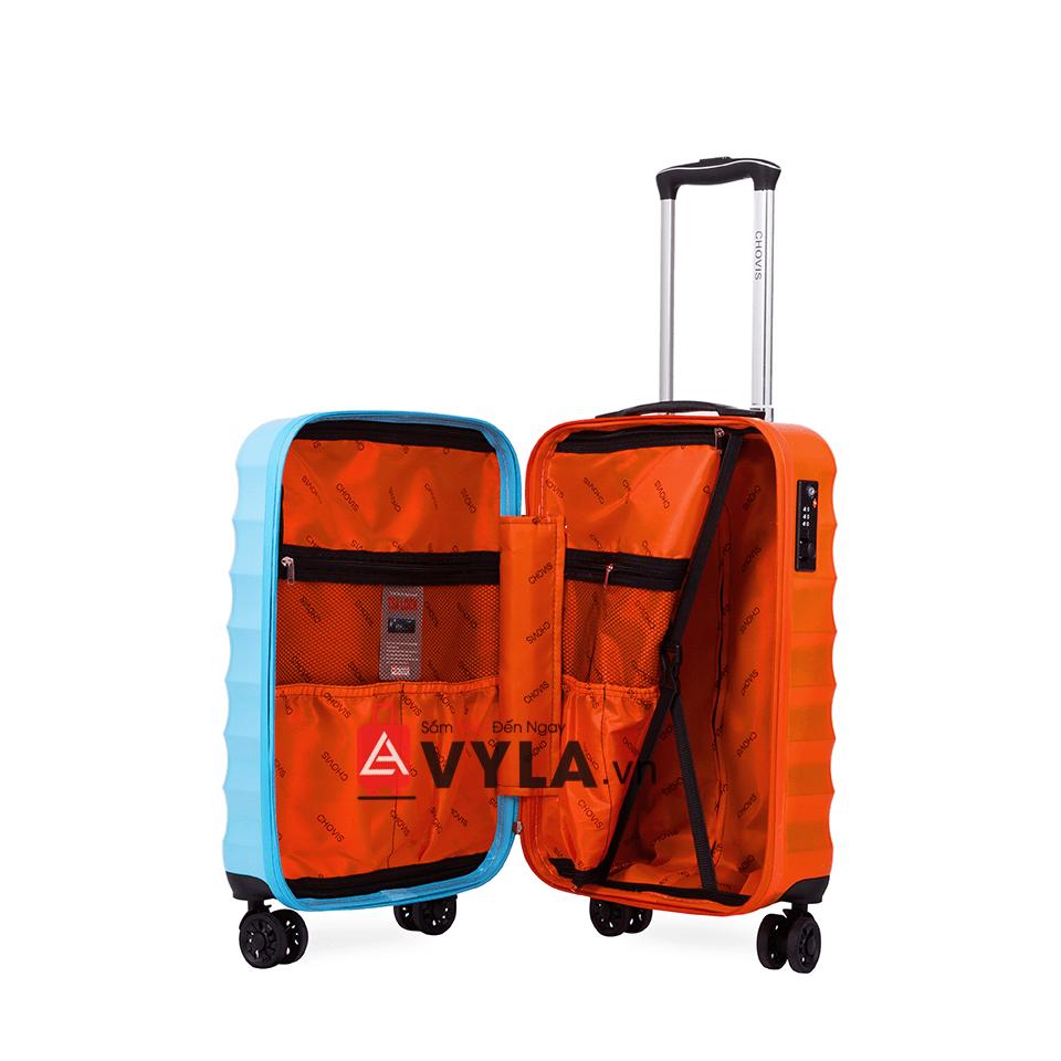 Vali kéo nhựa trơn xanh cam
